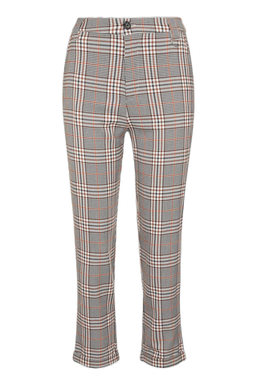 C&A Clockhouse geruite slim fit broek zwart/wit/bruin, Zwart/wit/bruin