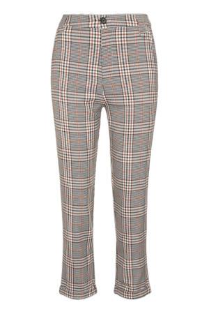geruite slim fit broek zwart/wit/bruin