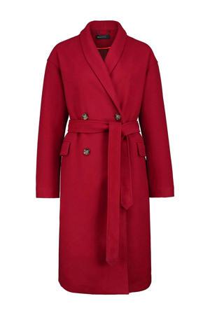 coat Koreen met wol robijn rood