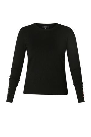 fijngebreide trui met 3D applicatie zwart