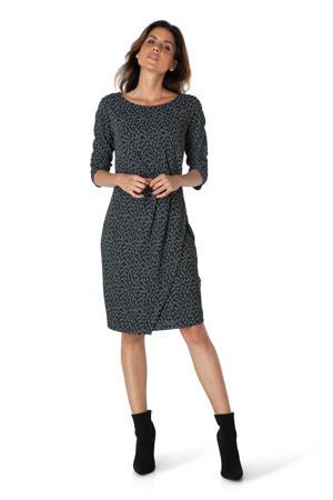jurk met panterprint en plooien zwart/wit