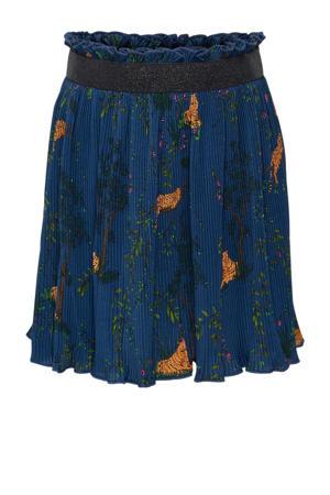 rok Luna met all over print en plooien blauw/multicolor