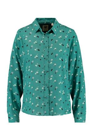 gebloemde blouse Britt sea green