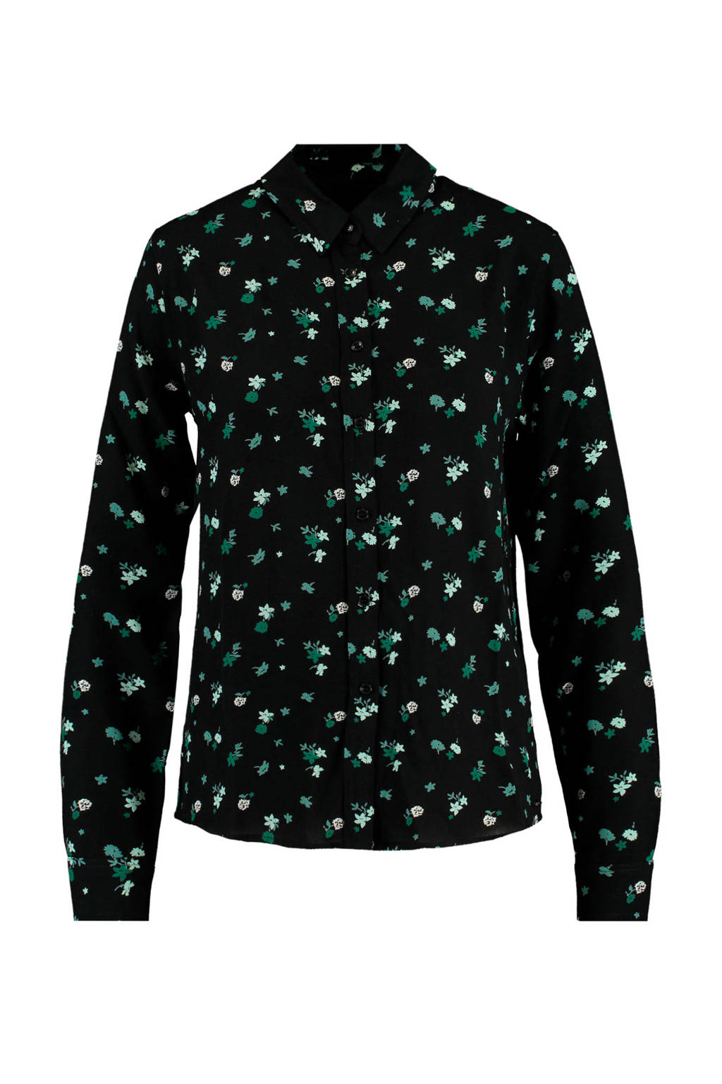 America Today gebloemde blouse Britt black/green, Black/green