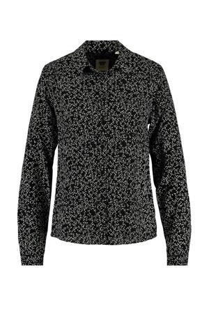 blouse Britt met all over print zwart/wit