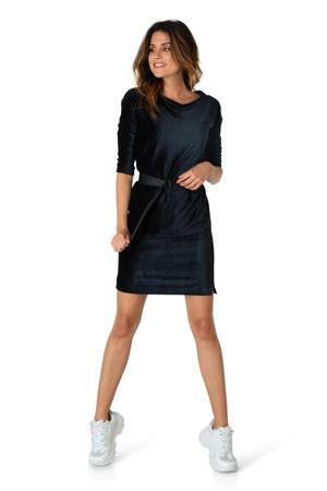 corduroy jurk met ceintuur zwart