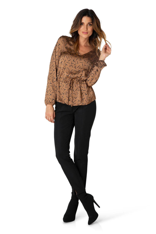 Ivy Beau top met all over print bruin/zwart, Bruin/zwart