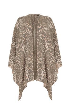 vest met wol en dierenprint beige/ecru
