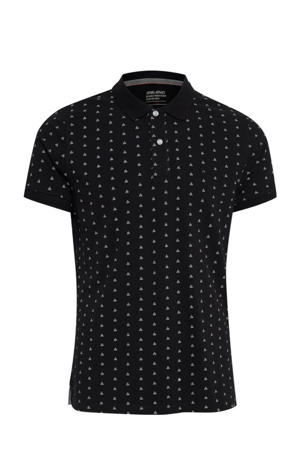 slim fit polo met all over print zwart