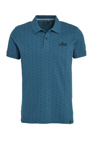 slim fit polo met all over print petrol
