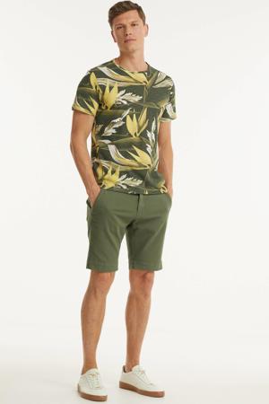T-shirt met all over print olijfgroen/geel