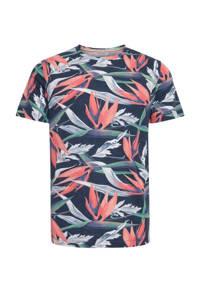 Blend T-shirt met all over print blauw/koraal