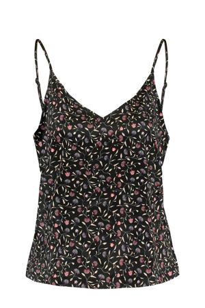 gebloemde pyjamatop Lulu zwart/roze