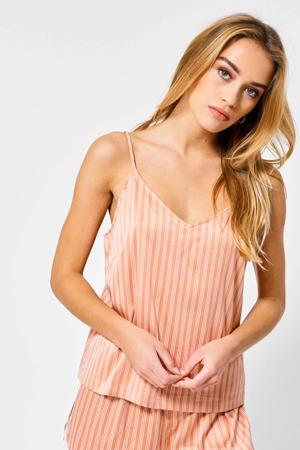 gestreepte pyjamatop Lulu oranje/wit