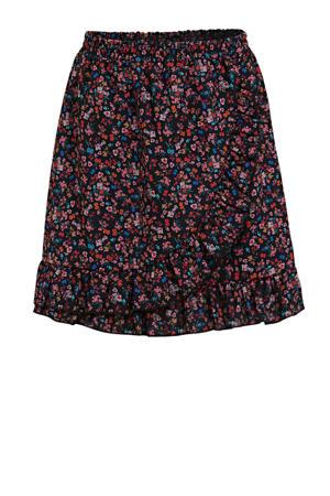 gebloemde rok Jamilee roze/zwart/multicolor