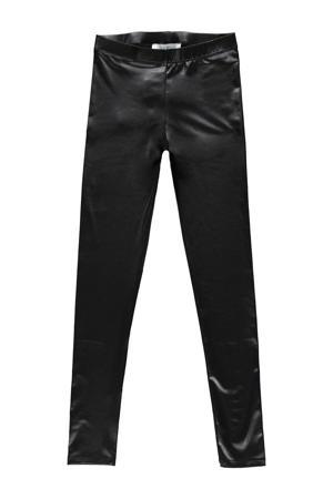 imitatieleren high waist broek Santy zwart