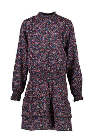 gebloemde jurk Frasy donkerblauw/roze/multi