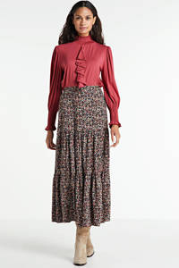 Transfer top met ruches rood, Rood
