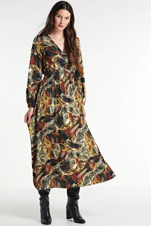 maxi jurk met all over print bruin/multi