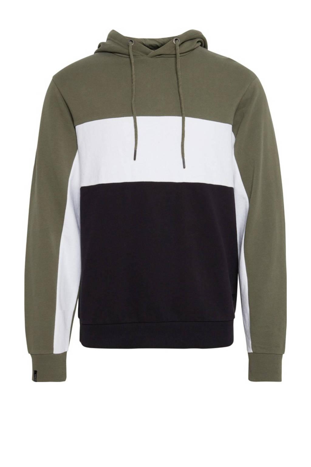 Blend hoodie kaki/wit/donkerblauw, Kaki/wit/donkerblauw