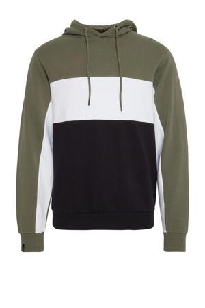 hoodie kaki/wit/donkerblauw