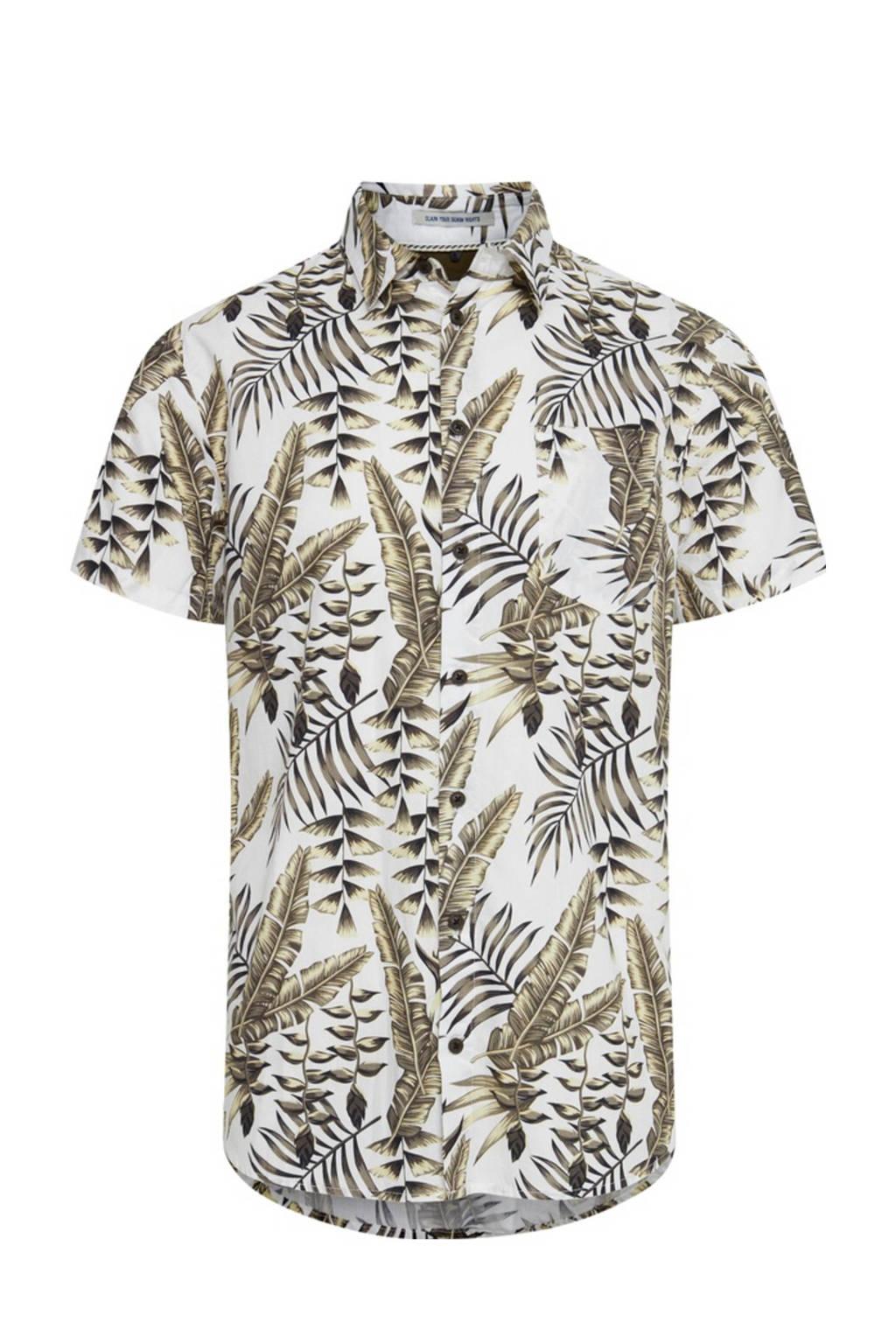 Blend slim fit overhemd met all over print ecru/kaki, Ecru/kaki