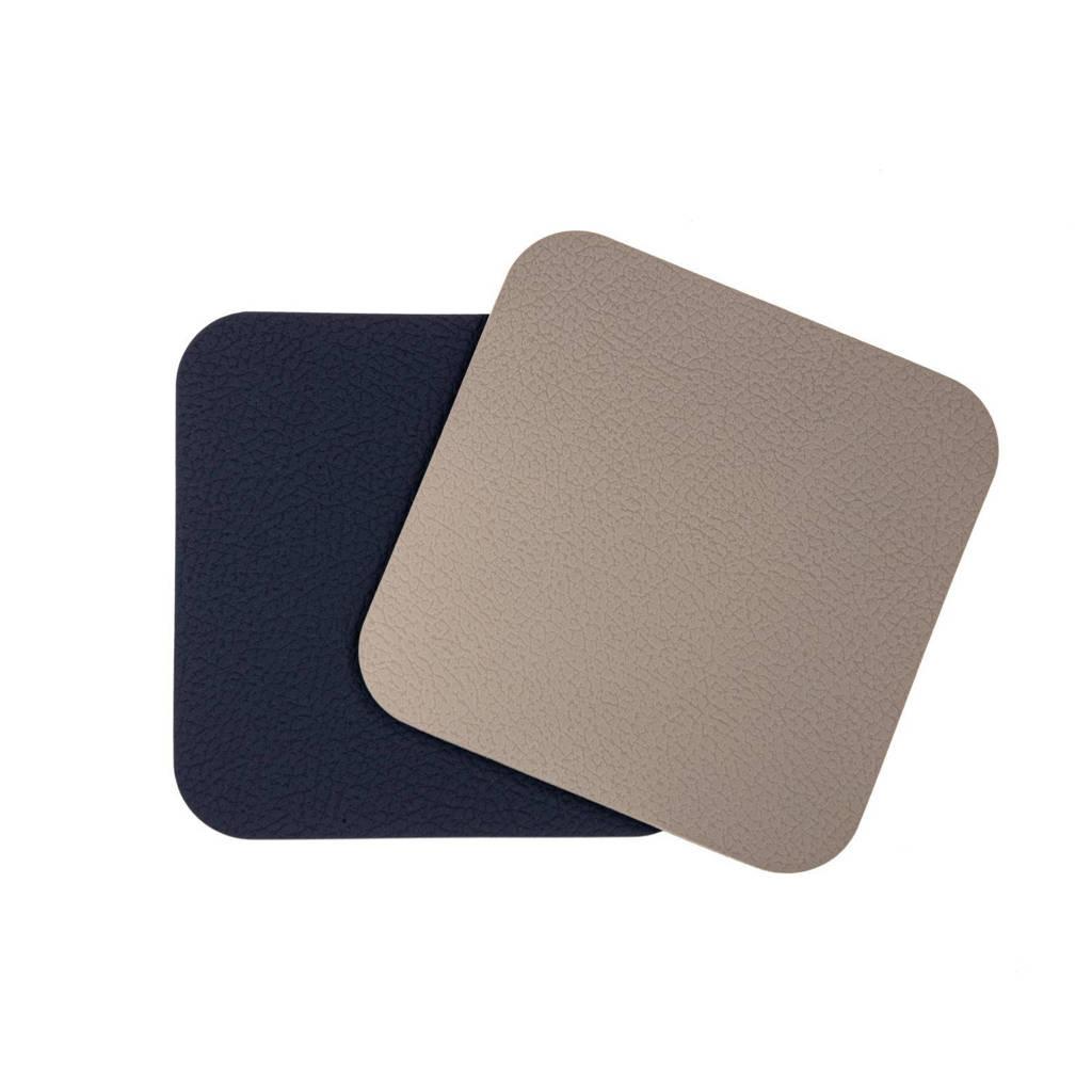 Jay Hill Onderzetters Leer Lichtgrijs Blauw (10x10 cm) (set van 6), Grijs,Blauw