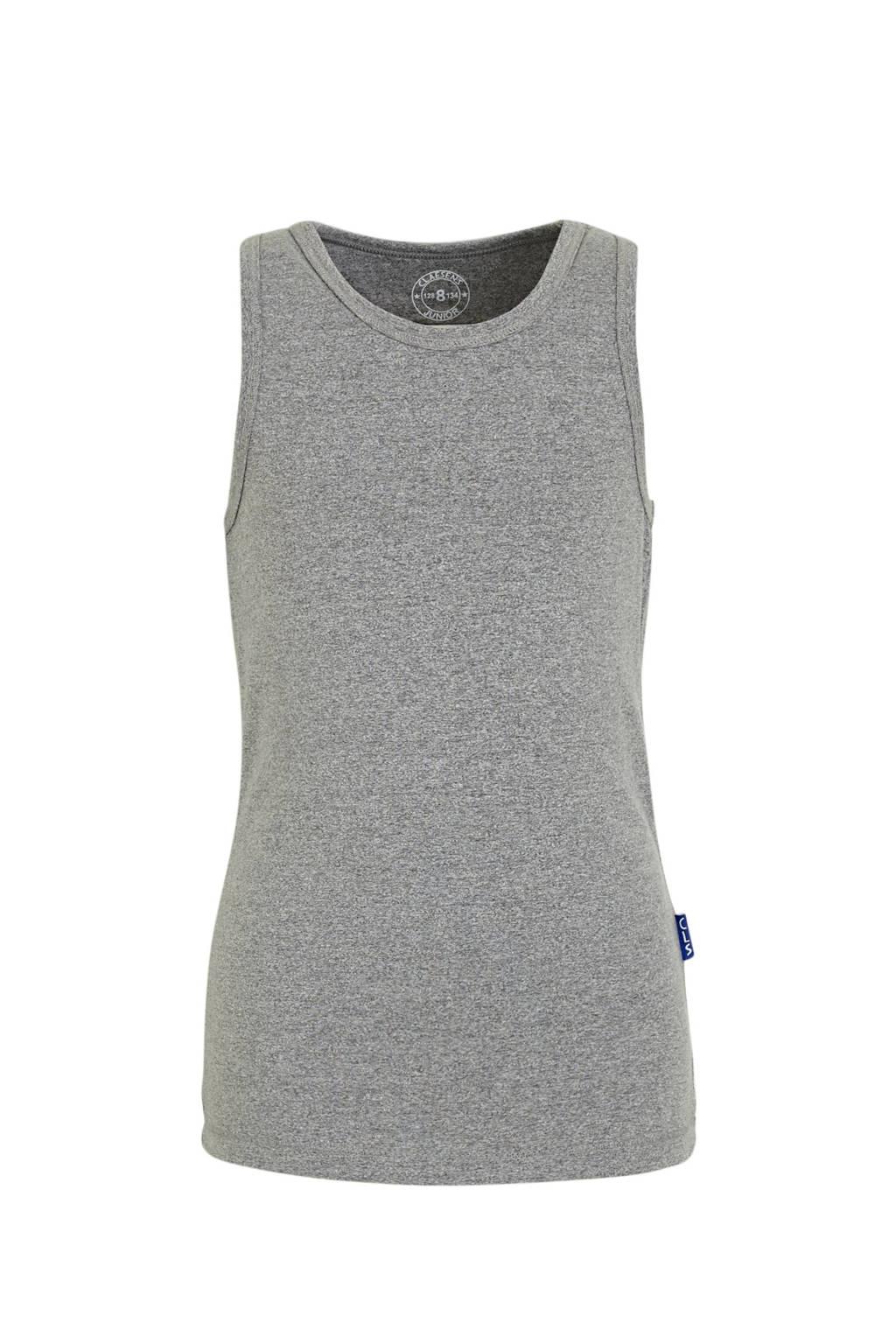 Claesen's hemd grijs melange, Grijs melange/wit