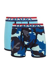 Claesen's   boxershort - set van 2 met all over print blauw, Blauw/donkerblauw