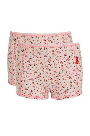 gebloemde boxer - set van 2 roze