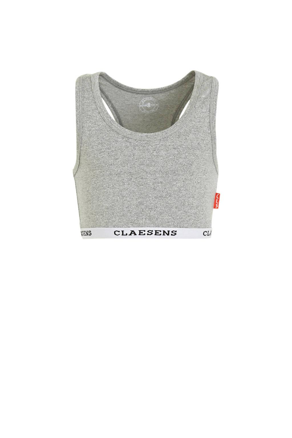 Claesen's bh top grijs melange/wit, Grijs melange/wit