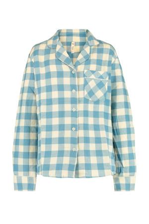 pyjama blouse Lab blauw/ecru