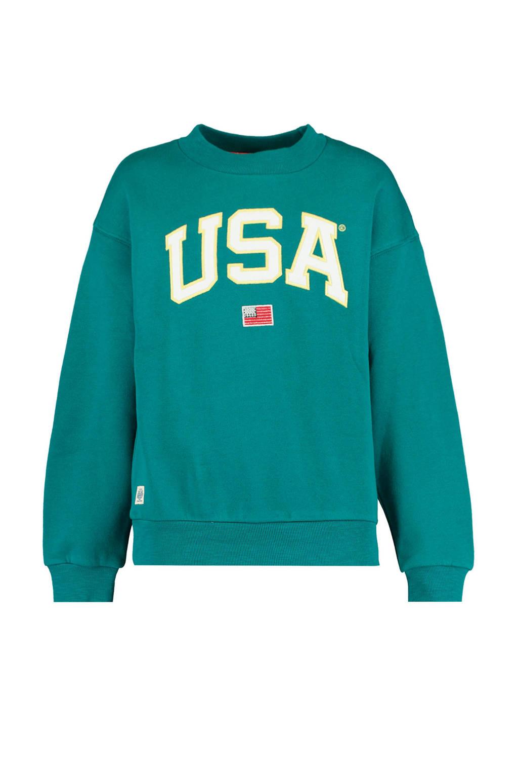 America Today Junior sweater met tekst zeegroen/ecru, Zeegroen/ecru