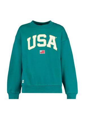 sweater met tekst zeegroen/ecru