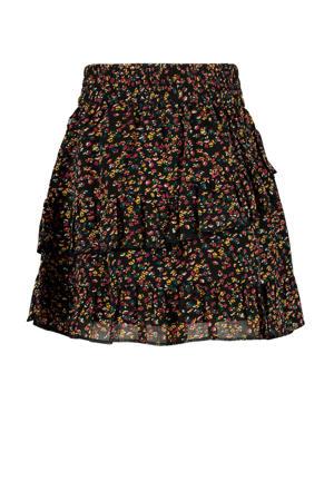 semi-transparante rok met all over print zwart/rood/geel