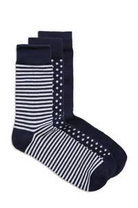JACK & JONES giiftbox sokken  - set van 3 donkerblauw, Donkerblauw/wit