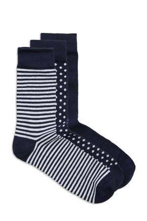 giiftbox sokken  - set van 3 donkerblauw