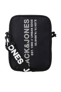 JACK & JONES  crossbody tas zwart/wit, Zwart/wit