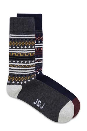 sokken  - set van 2 antraciet/donkerblauw