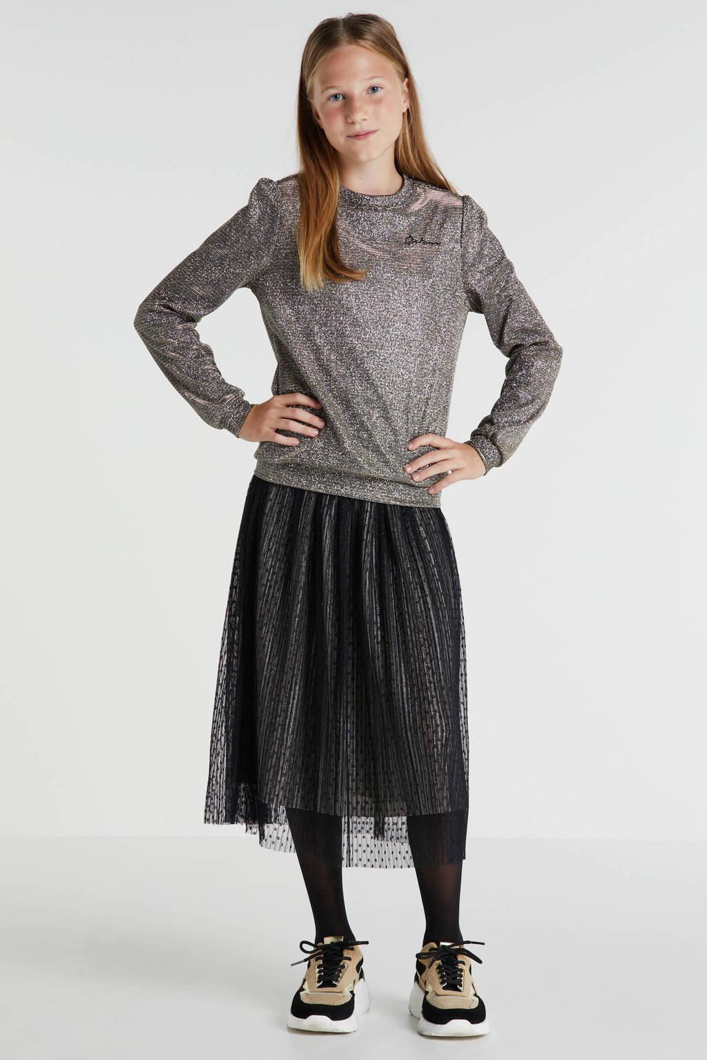 Retour Denim semi-transparante rok Emilia met all over print zwart, Zwart