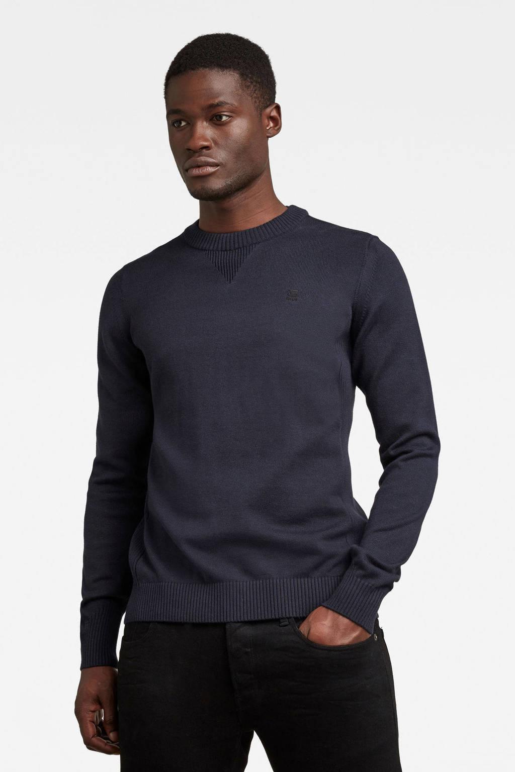 G-Star RAW trui met biologisch katoen donkerblauw, Donkerblauw