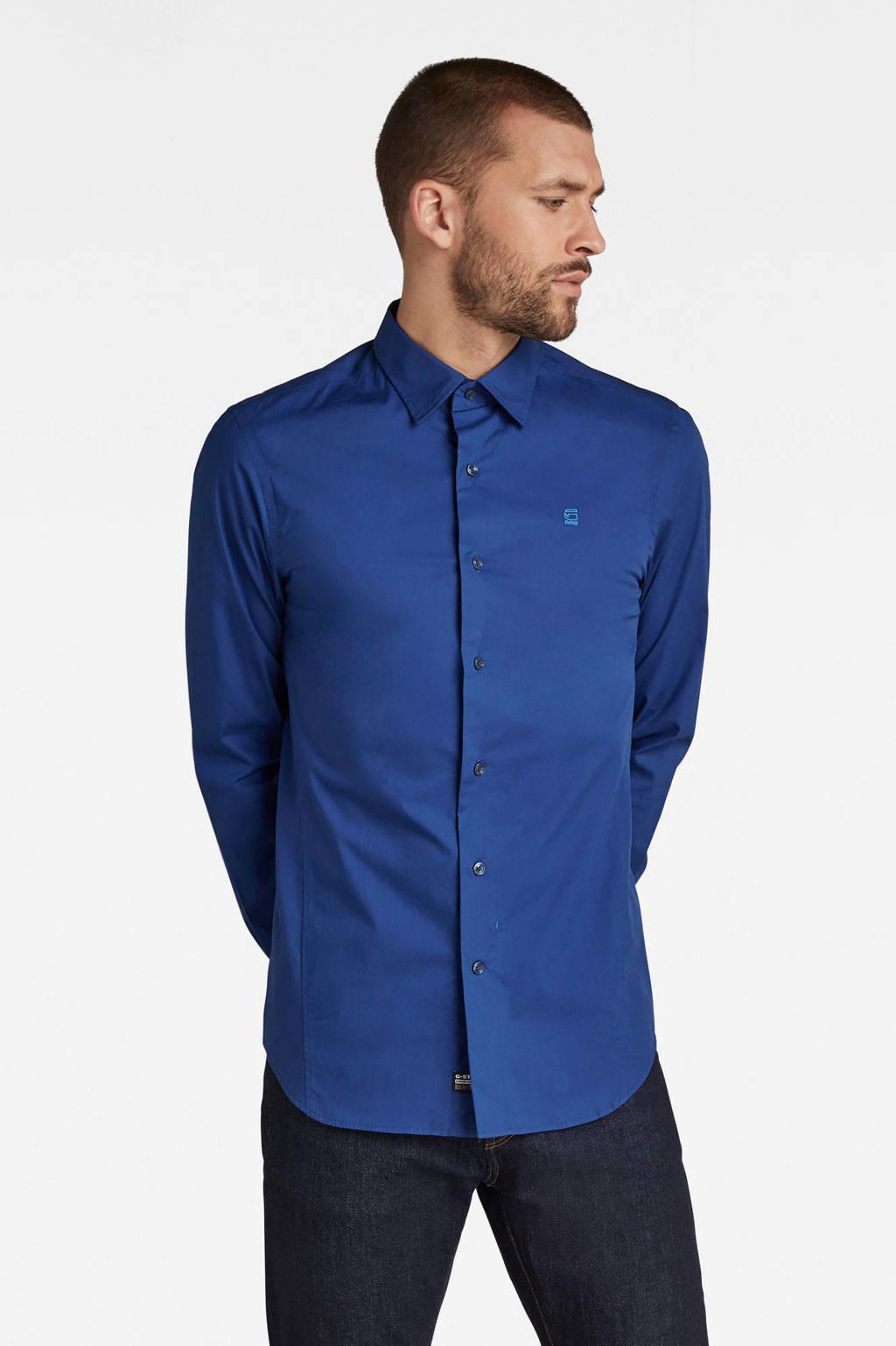 G-Star RAW super slim fit overhemd met biologisch katoen kobaltblauw, Kobaltblauw