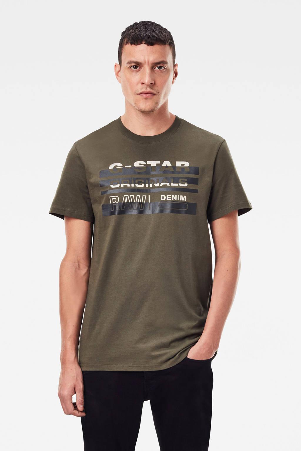 G-Star RAW T-shirt van biologisch katoen kaki, Kaki
