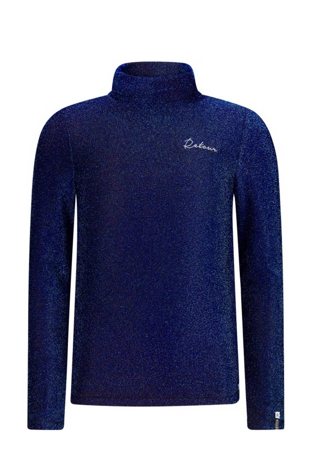 Retour Denim top Romina met glitters donkerblauw, Donkerblauw