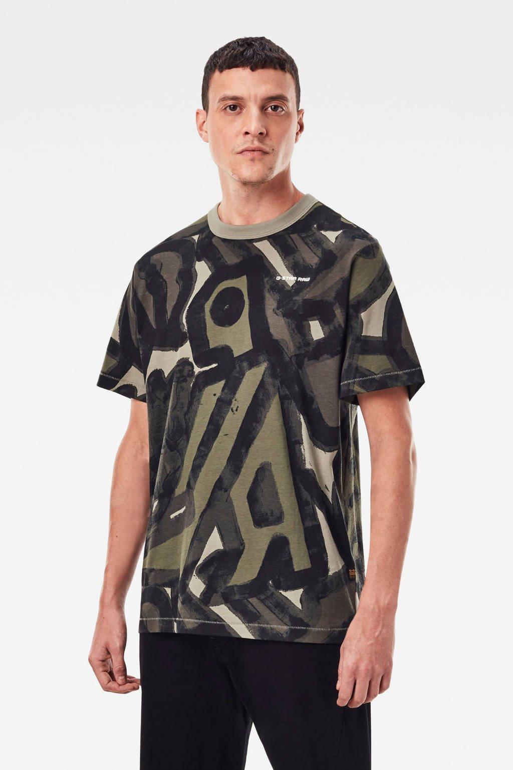 G-Star RAW T-shirt van biologisch katoen groen/beige, Groen/beige