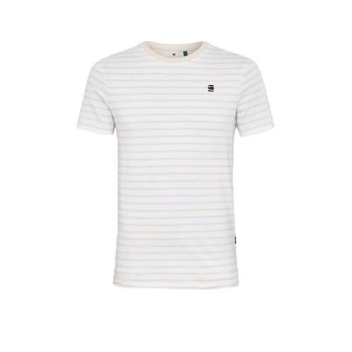 G-Star RAW gestreept T-shirt van biologisch katoen wit/beige