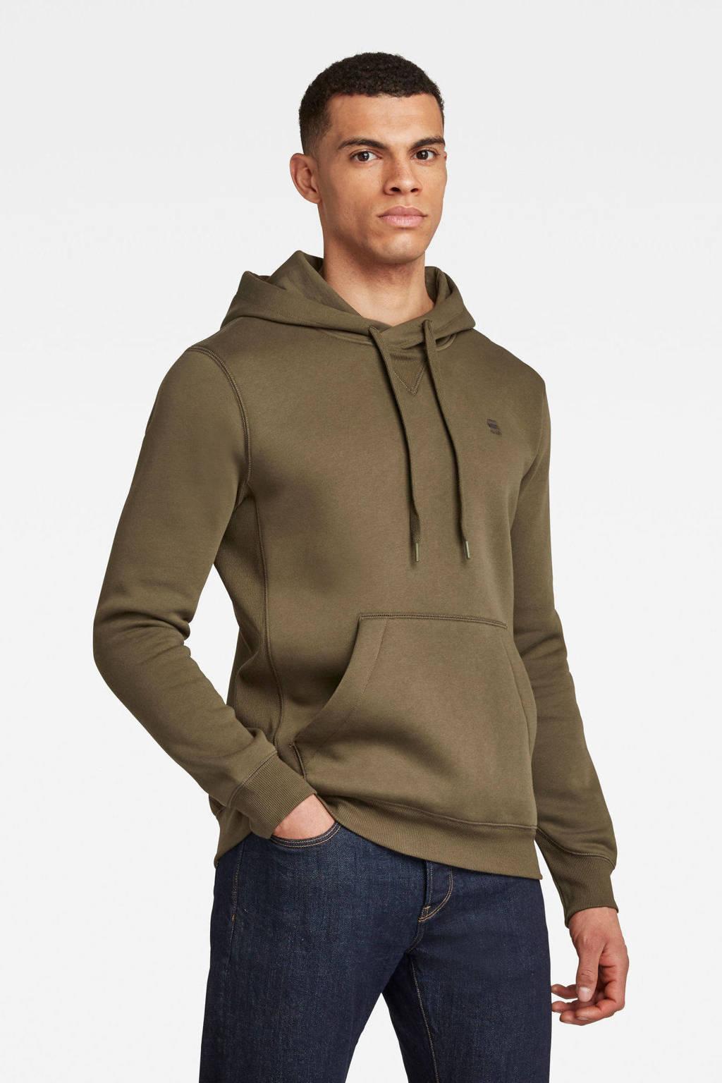 G-Star RAW hoodie met biologisch katoen kaki, Kaki