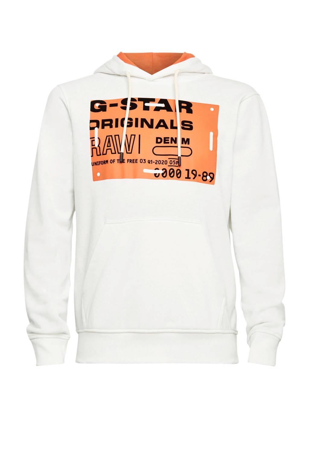 G-Star RAW hoodie met biologisch katoen wit, Wit