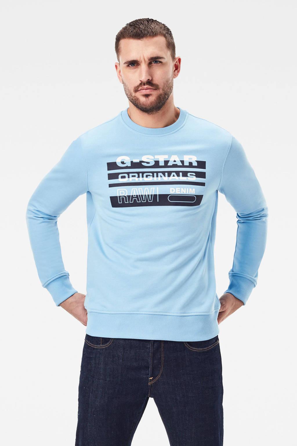 G-Star RAW sweater met biologisch katoen lichtblauw, Lichtblauw