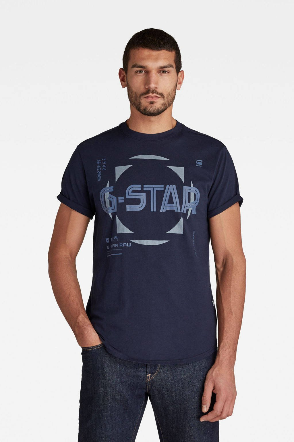 G-Star RAW T-shirt Lash van biologisch katoen donkerblauw, Donkerblauw